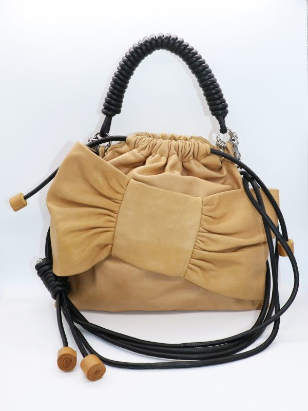 画像1: 【Methodology】Lima Pea Bag / BOWレザーハンドバッグ[Mustard] (1)
