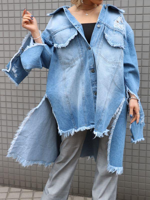 画像1: ★50%OFF★【PONY STONE】MONSTA ダメージデニムジャケット[Blue] (1)
