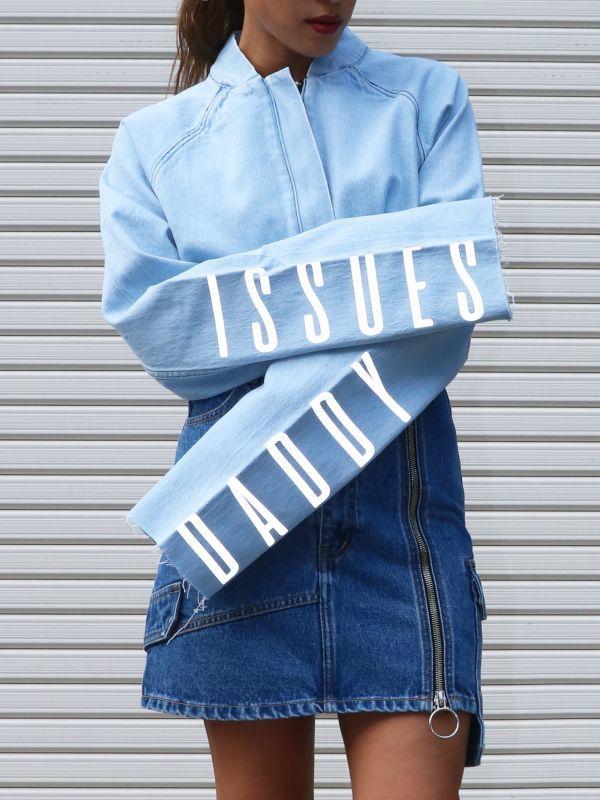 画像1: 【PONY STONE】DADDY / リフレクトレター入りクロップデニムジャケット[L.Blue] (1)