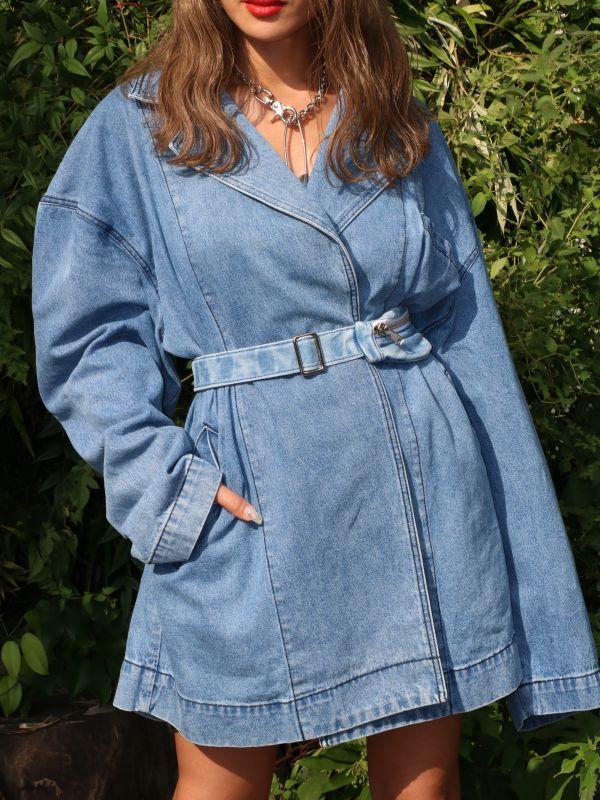 画像1: 【PONY STONE】KYLE / ウエストポーチベルト付きオーバーサイズデニムジャケットコート[Blue] (1)