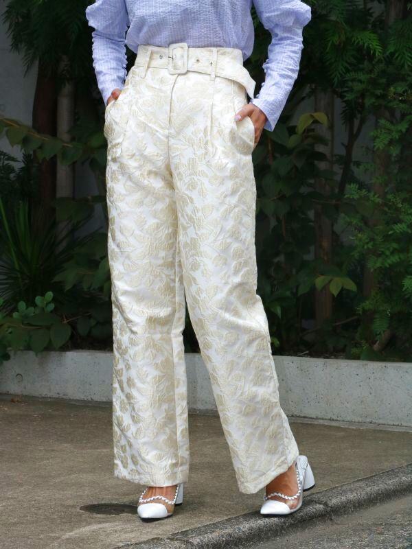 画像1: ★30%OFF★【SISTER JANE】Novel Jacquard Belted Trousers/ベルト付きジャガードパンツ [Cream/Gold] (1)
