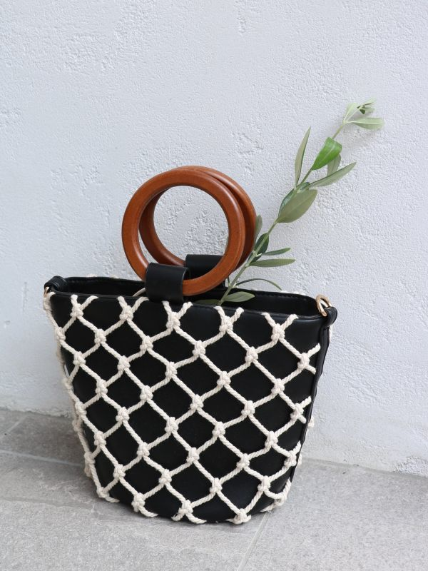 画像1: 【Street Level】Circle Net Bag / サークルネットバスケットバッグ[Black x Ivory] (1)