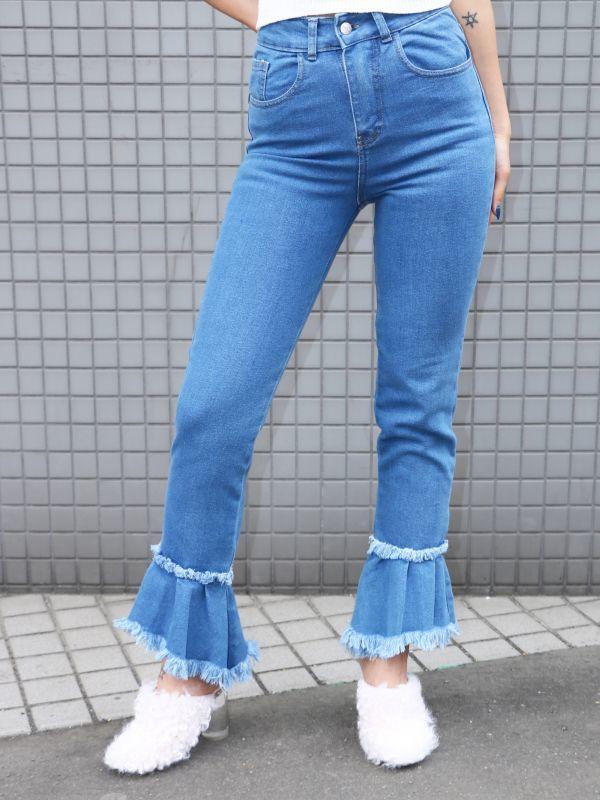 画像1: ★50%OFF★【TACH CLOTHING】Tavira ペプラムデニムパンツ [Blue] (1)