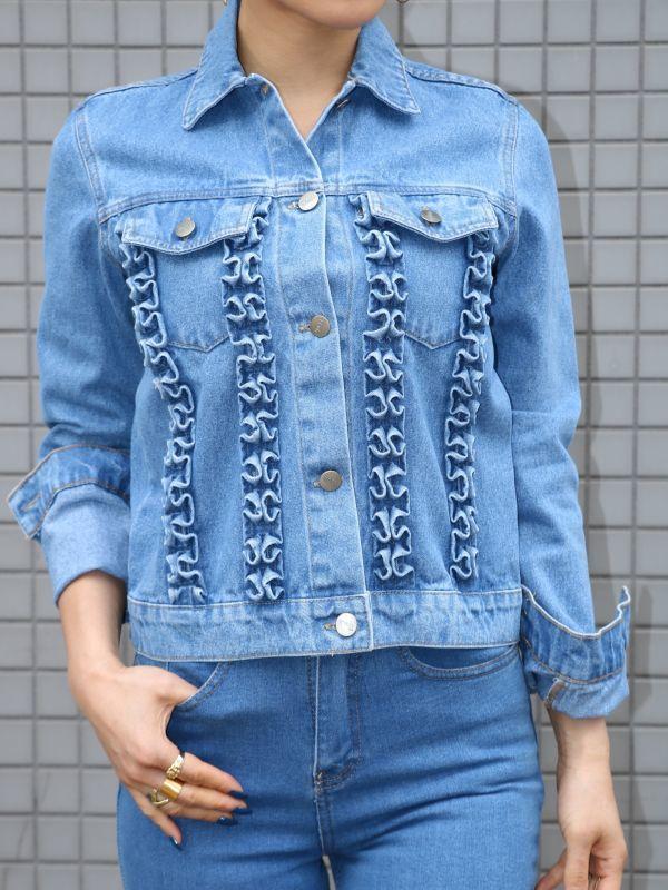 画像1: ★30%OFF★【TACH CLOTHING】Kooning フリルディテールデニムジャケット [Blue] (1)