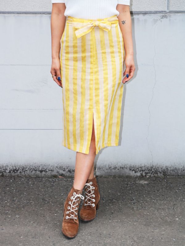 画像1: ★60%OFF★【TACH CLOTHING】Miro Skirt ストライプ膝丈スカート[Yellow] (1)