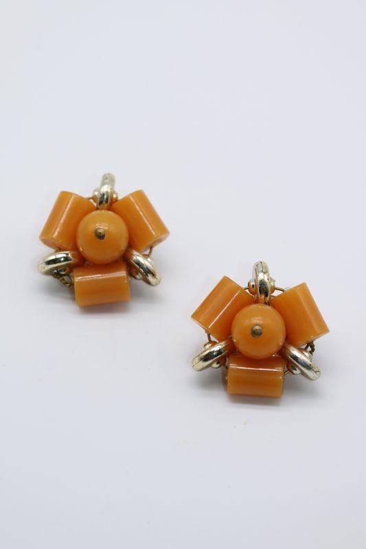 画像1: 70'S VINTAGE EARRING [Orange x Gold] (1)