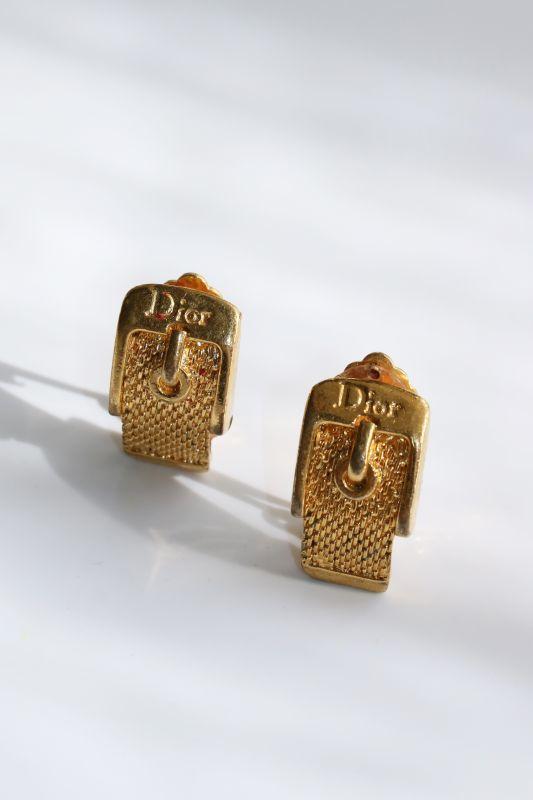 画像1: <VINTAGE>【DIOR】BUCKLE CLIP EARRING [Gold] (1)