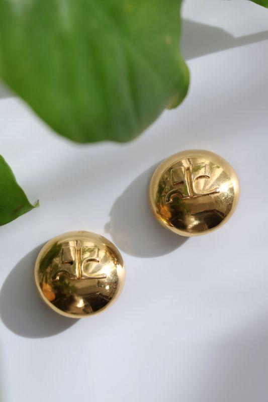 画像1: <VINTAGE>【Courrèges】HALF BALL CLIP EARRING [Gold] (1)