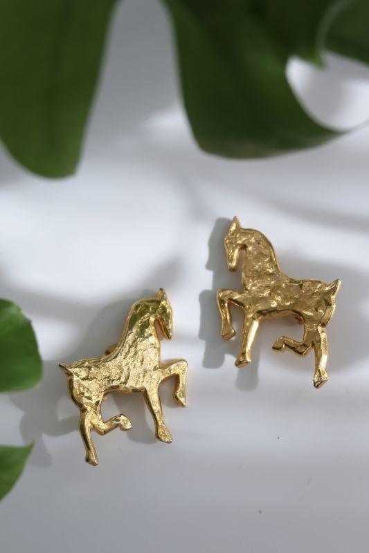 画像1: <80'S VINTAGE> GOLDEN HORSE EARRING [Gold] (1)