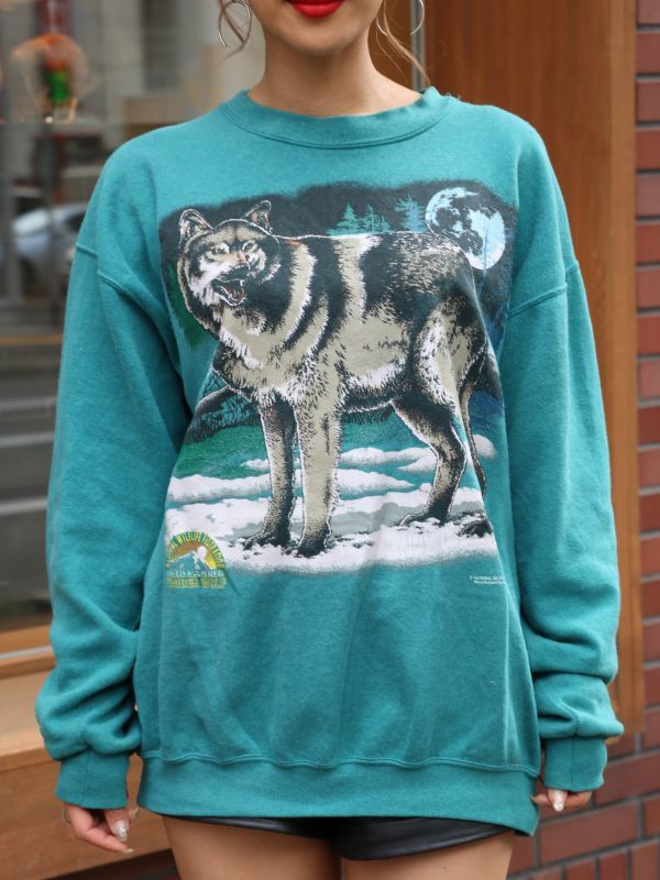 画像1: 【VINTAGE】Animal Sweat Shirt [Green] (1)