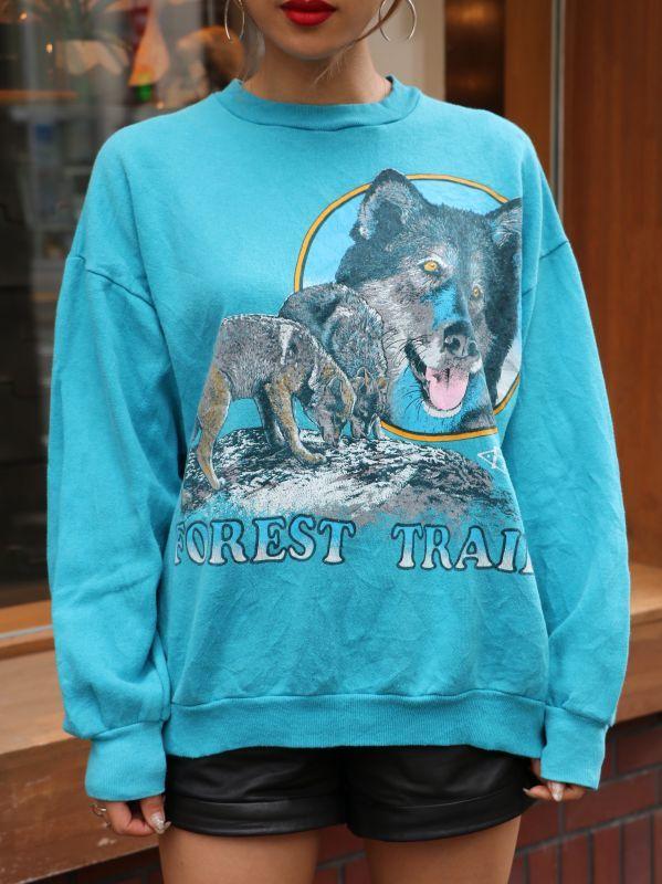 画像1: 【VINTAGE】Animal Sweat Shirt [Blue] (1)
