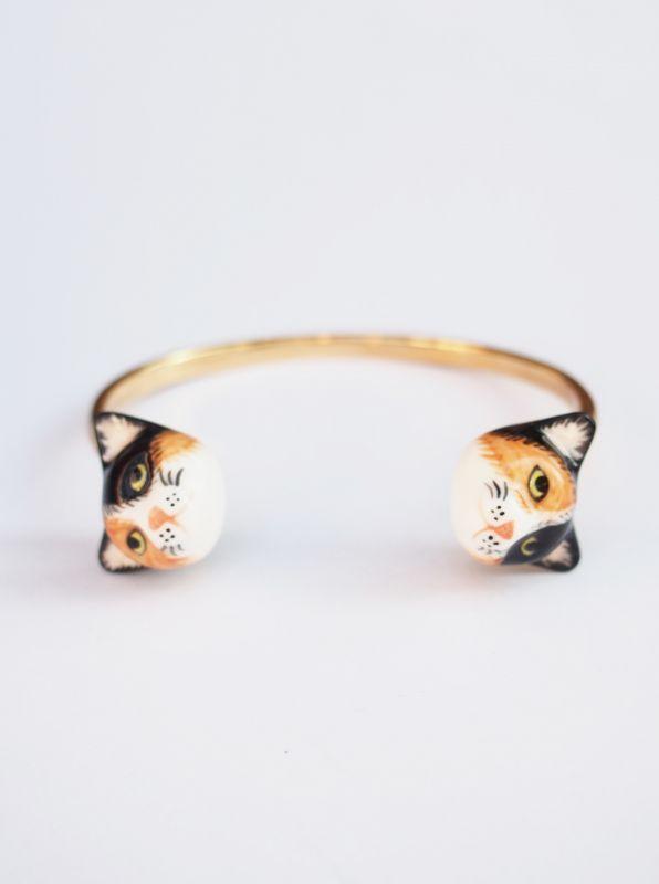 画像1: ★50%OFF★【nach BIJOUX / ナッシュビジュー】Cat Face to Face Bracelet / キャットブレスレット[Black x White x Brown] (1)