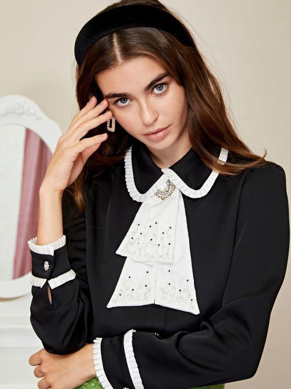 画像1: ★20%OFF★【SISTER JANE】Closet Cravat Ruffle Shirt /クラバット付きラッフルディテールブラウス[Black] (1)