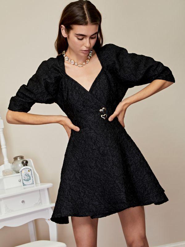画像1: 【Sister Jane】Midnight Jacquard Mini Wrap Dress /ジャガードラップミニワンピース[Black] (1)