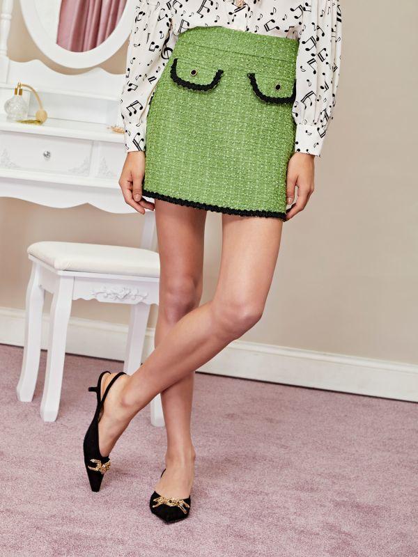 画像1: 【Sister Jane】Pippin Tweed Micro Skirt /ツイードマイクロミニスカート[Green] (1)